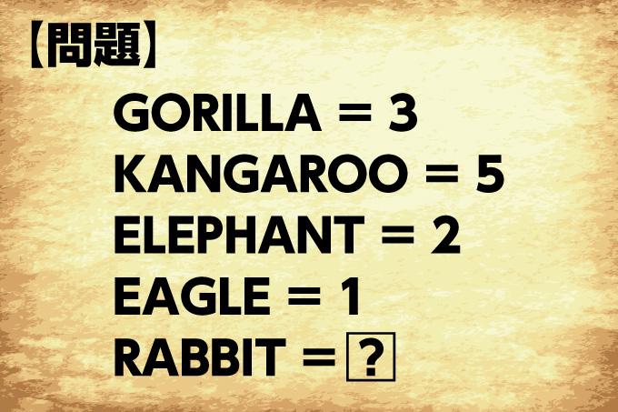 アルファベット問題。ゴリラは3、カンガルーは5、エレファントは2、イーグルは1、ラビットは?